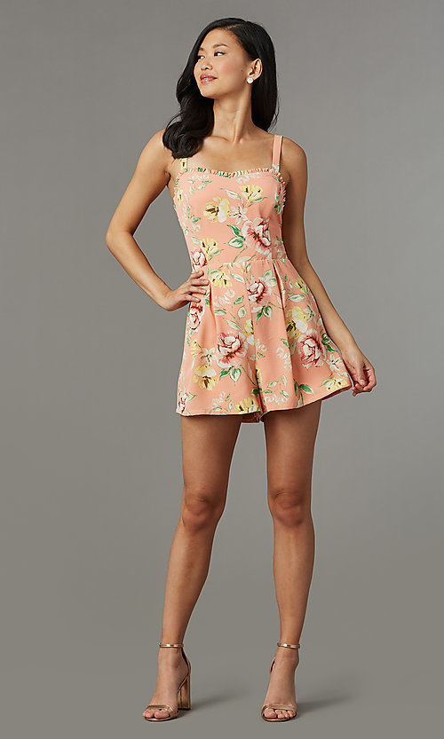 Image of floral-print short casual party romper. Style: AS-JH-L7055D45E34 Front Image