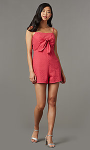 Image of berry red short lace romper for parties. Style: AS-JH-I7112d1J92 Front Image