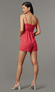 Image of berry red short lace romper for parties. Style: AS-JH-I7112d1J92 Back Image