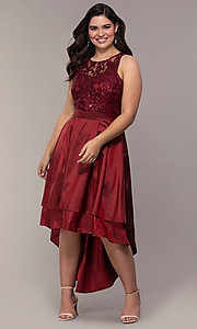 Image of high-low sequin-bodice plus-size prom dress by Simply. Style: MCR-SD-2853 Detail Image 4