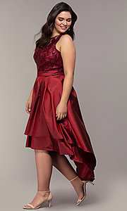 Image of high-low sequin-bodice plus-size prom dress by Simply. Style: MCR-SD-2853 Detail Image 8