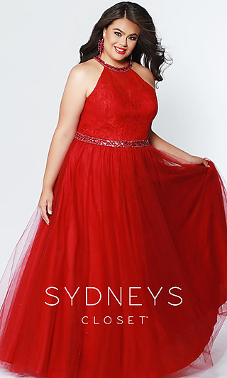 Long A-Line Plus Prom Dress with a Lace Bodice