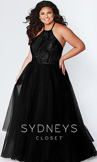 A-Line Halter Plus Prom Dress by Sydney's Closet