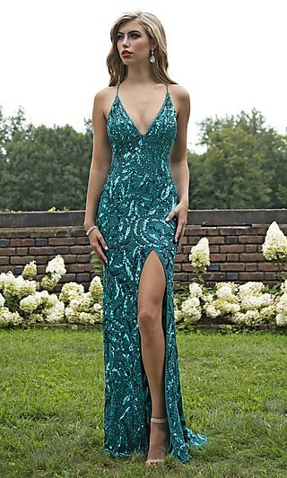 Sequined and Beaded Designer Prom Dress by Primavera