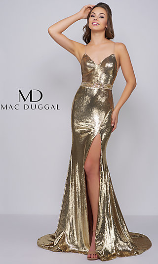 Sequin V-Neck Prom Dress with a Beaded Waist