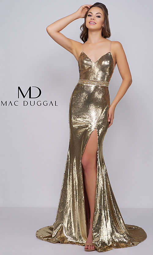595c60dca9d Sequin V-Neck Prom Dress with a Beaded Waist