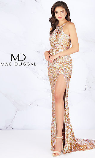Sequin Prom Dress with an Open Cowl Back