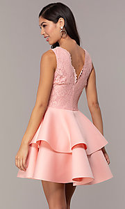 Image of short lace-bodice graduation party dress. Style: CL-47242 Back Image