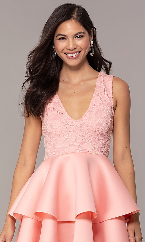 Image of short lace-bodice graduation party dress. Style: CL-47242 Detail Image 1