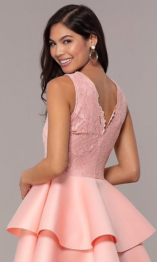 Image of short lace-bodice graduation party dress. Style: CL-47242 Detail Image 2