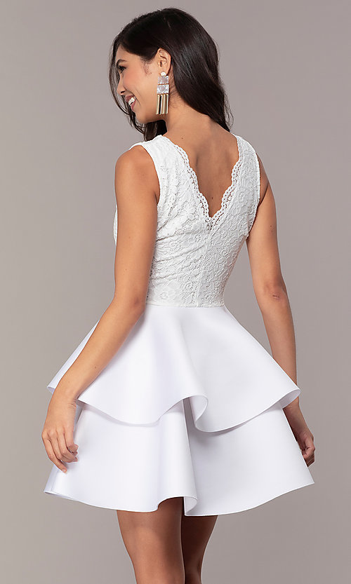 Image of short lace-bodice graduation party dress. Style: CL-47242 Detail Image 5