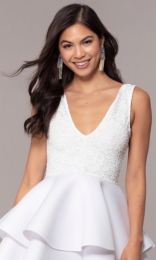 Image of short lace-bodice graduation party dress. Style: CL-47242 Detail Image 6