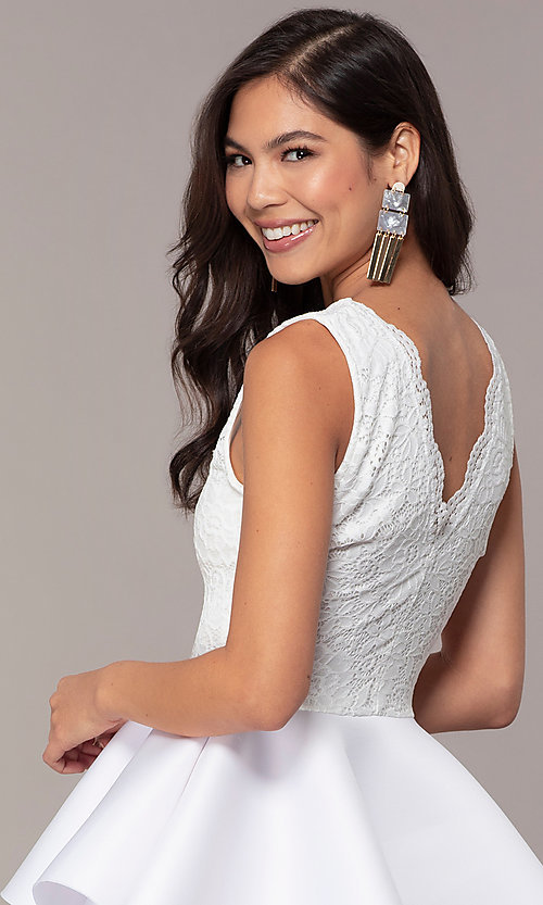 Image of short lace-bodice graduation party dress. Style: CL-47242 Detail Image 7