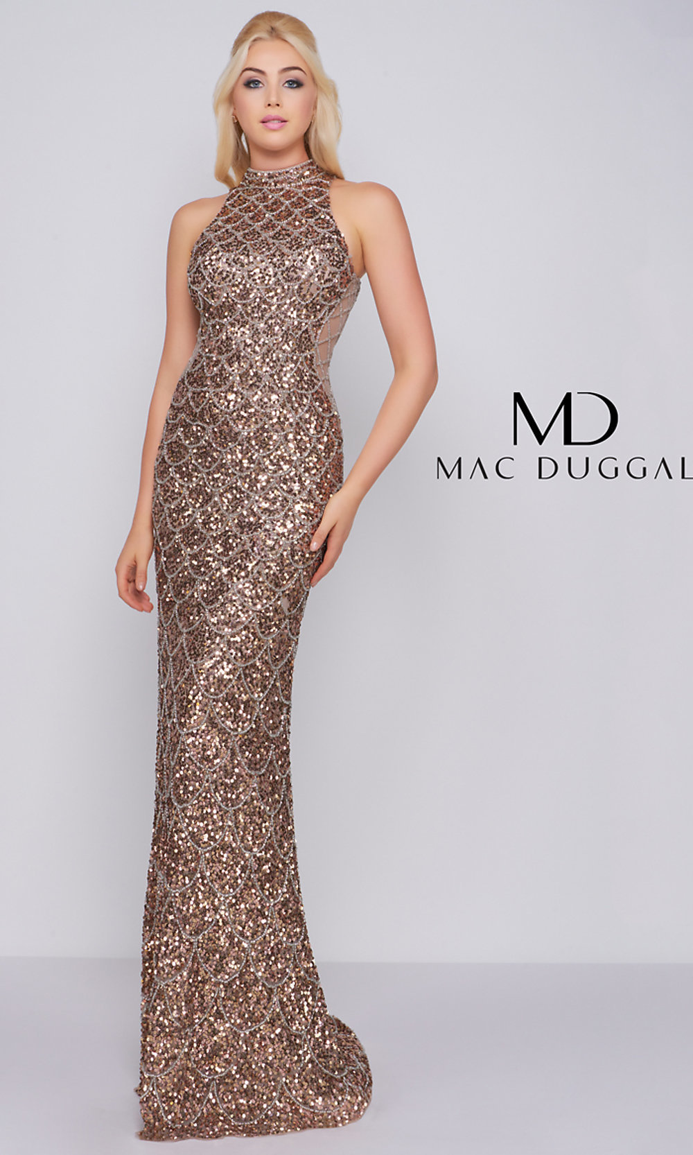 97a4559709db Long Mock-Neck Sequin Prom Dress with Insets