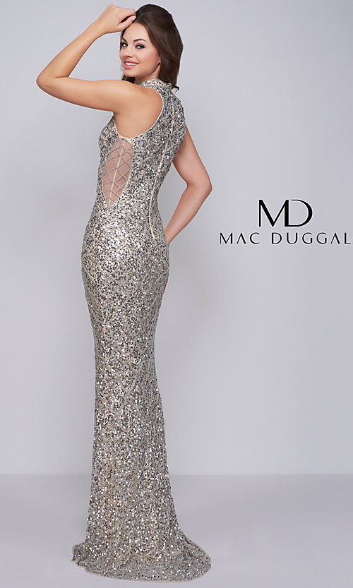 2464a7d3195 Long Mock-Neck Sequin Prom Dress with Insets