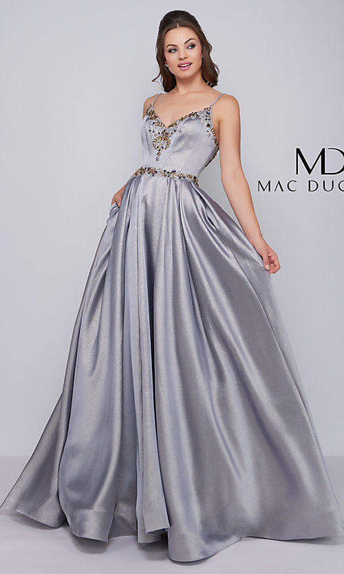 56485b6c03e Ball Gown-Style Platinum Prom Dress by Mac Duggal