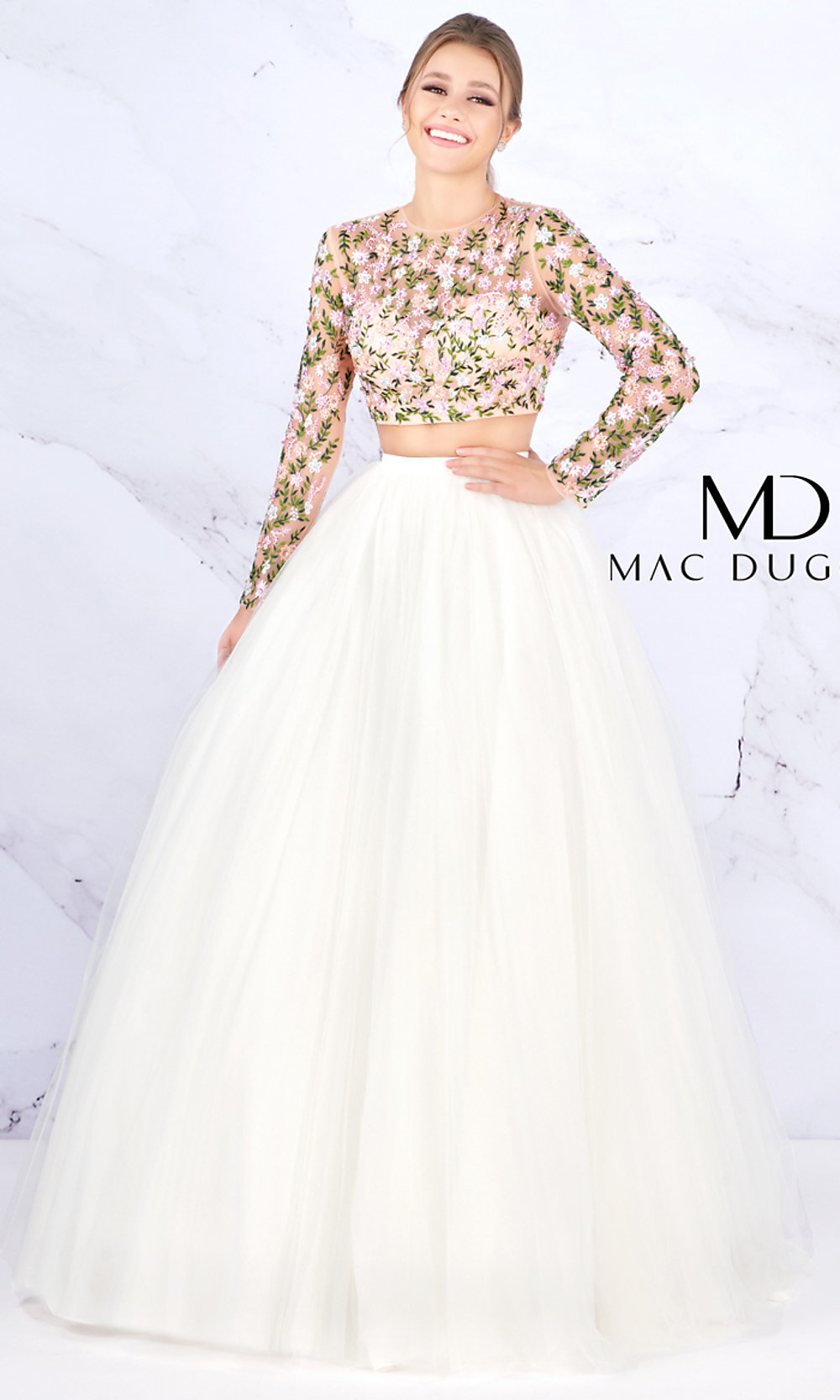 81d878a975 Ball Gown-Style Two-Piece Prom Dress with Sleeves