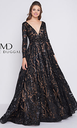 Sequin-Patterned A-Line Prom Dress with Sleeves