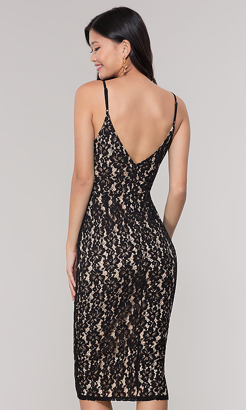 Image of v-neck lace midi wedding-guest dress in black. Style: JTM-JMD8729b Back Image