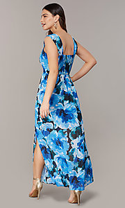 Image of floral-print maxi wedding-guest dress with slit. Style: ECI-NMS-S1052-8459 Back Image