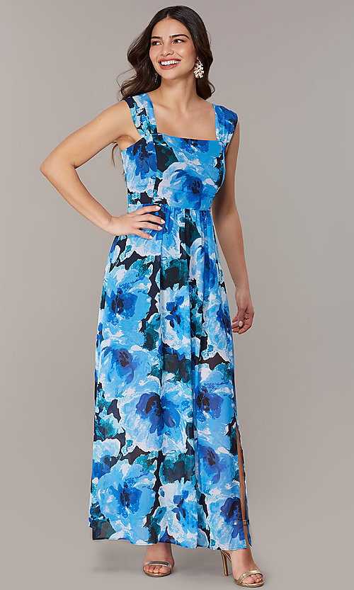 Image of floral-print maxi wedding-guest dress with slit. Style: ECI-NMS-S1052-8459 Front Image