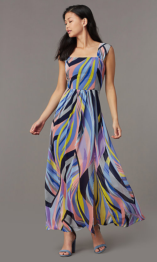 a63f6a398c7 Image of long chiffon sleeveless print wedding-guest dress. Style  ECI-NMS