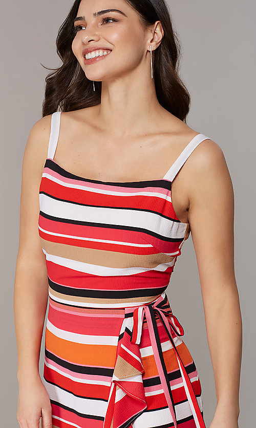 Image of striped knee-length faux-wrap casual party dress. Style: ECI-NMS-S1056-8474 Detail Image 1