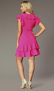 Image of fuchsia pink wedding-guest dress with flounce. Style: ECI-S1085-7252 Back Image