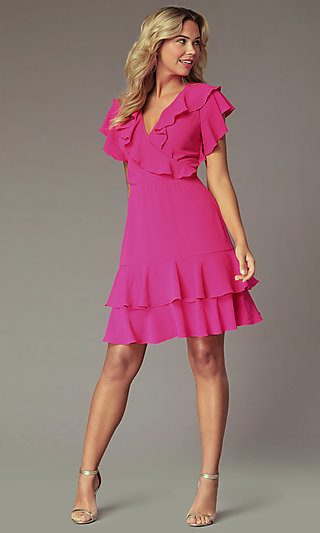 Fuchsia Pink Wedding-Guest Dress with Flounce
