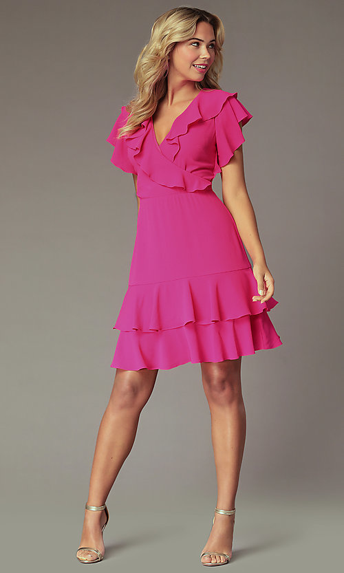 Image of fuchsia pink wedding-guest dress with flounce. Style: ECI-S1085-7252 Front Image