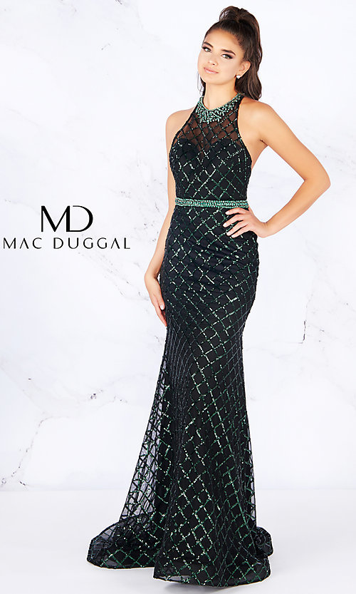 a56e66aefda Sequined Racerback Prom Dress with Beaded Details