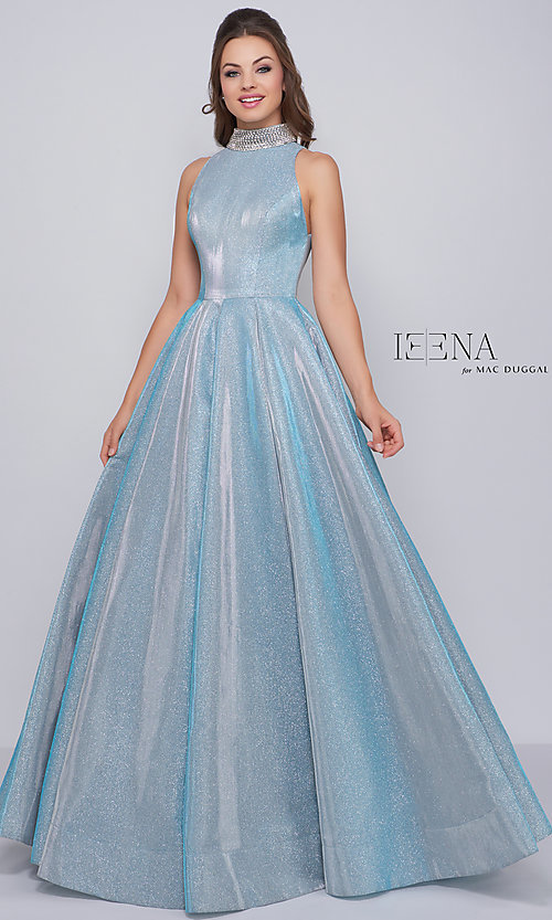 bfdf0efb579 Shimmering A-Line Prom Dress by Ieena for Mac Duggal