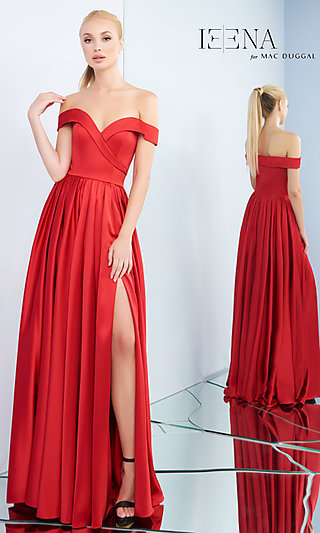 A-Line Off-the-Shoulder Prom Dress with Box Pleats
