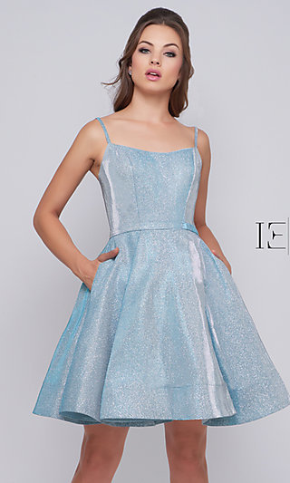 Shimmering Fit-and-Flare Short Prom Dress