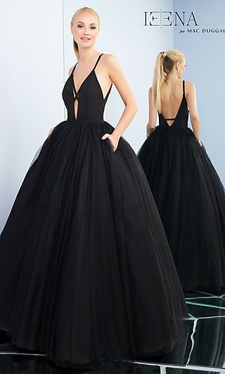 Long Ball Gown-Style Prom Dress with Pockets