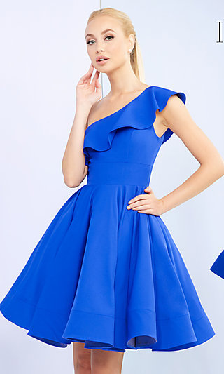 Fit-and-Flare Short Prom Dress with Flounce