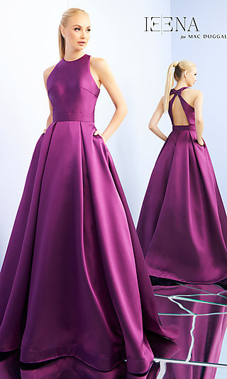 Long A-Line High-Neck Prom Dress with a Bow