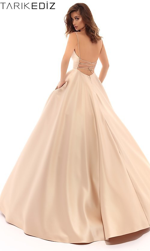 560fab95505 A-Line Tarik Ediz Prom Dress with an Open Back
