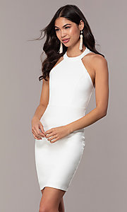 Image of ivory high-neck graduation dress with lace. Style: SJP-AS101-I Front Image