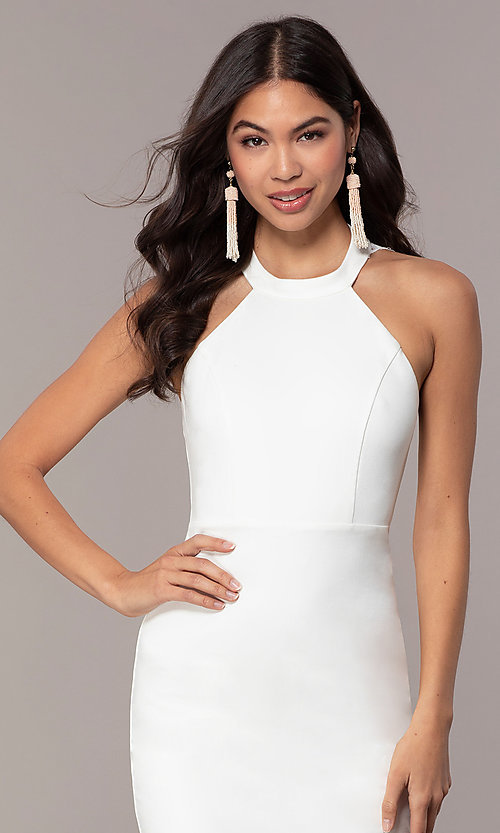 Image of ivory high-neck graduation dress with lace. Style: SJP-AS101-I Detail Image 1