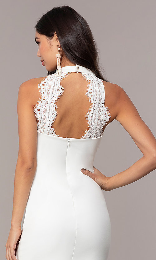 Image of ivory high-neck graduation dress with lace. Style: SJP-AS101-I Detail Image 2