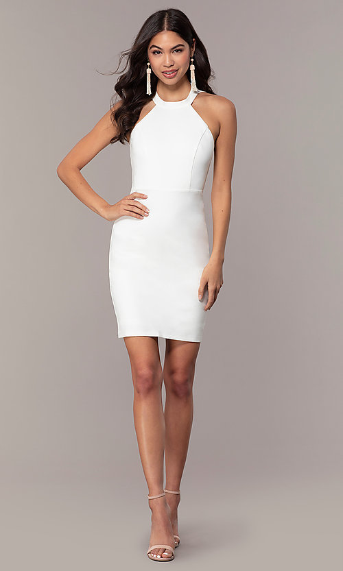 Image of ivory high-neck graduation dress with lace. Style: SJP-AS101-I Detail Image 3