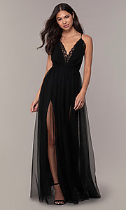 Image of lace-bodice open-back long prom dress by PromGirl. Style: MCR-PL-2836 Detail Image 4
