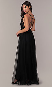 Image of lace-bodice open-back long prom dress by PromGirl. Style: MCR-PL-2836 Detail Image 5
