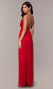 Image of lace-bodice open-back long prom dress by PromGirl. Style: MCR-PL-2836 Back Image