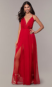 Image of lace-bodice open-back long prom dress by PromGirl. Style: MCR-PL-2836 Detail Image 3