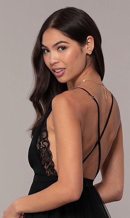 Image of lace-bodice open-back long prom dress by PromGirl. Style: MCR-PL-2836 Detail Image 7