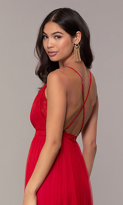 Image of lace-bodice open-back long prom dress by PromGirl. Style: MCR-PL-2836 Detail Image 2