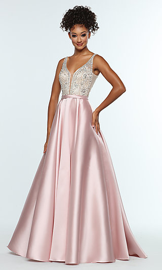 A-Line Long Prom Dress with Beaded Bodice