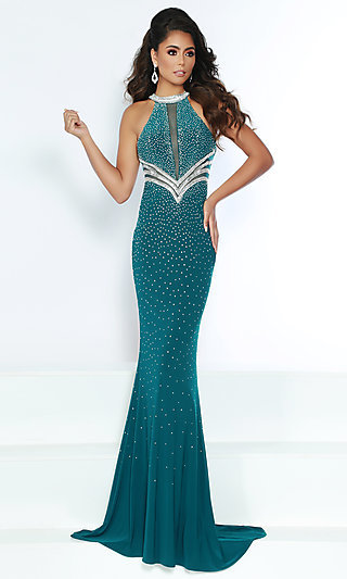Beaded High-Neck Prom Dress with Illusion Insets